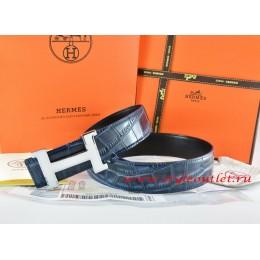 Hermes Blue/Black Crocodile Stripe Leather Reversible Belt 18K White Silver Narrow H Buckle