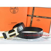 Hermes Black/Black Crocodile Stripe Leather Reversible Belt 18K White Gold H Buckle