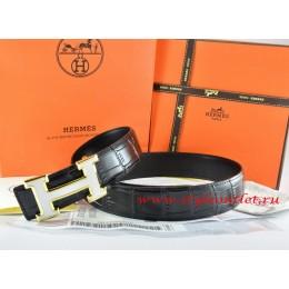 Hermes Black/Black Crocodile Stripe Leather Reversible Belt 18K White Gold H Buckle