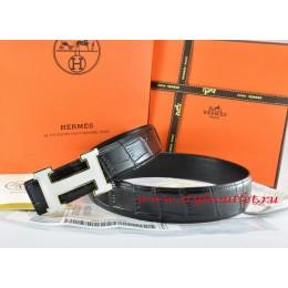 Hermes Black/Black Crocodile Stripe Leather Reversible Belt 18K White Silver H Buckle
