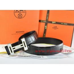 Hermes Black/Black Crocodile Stripe Leather Reversible Belt 18K White Gold With Logo H Buckle