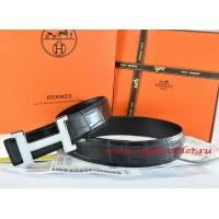 Hermes Black/Black Crocodile Stripe Leather Reversible Belt 18K White Silver Narrow H Buckle