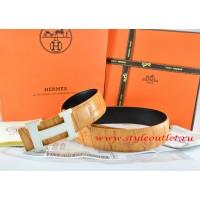 Hermes Orange/Black Crocodile Stripe Leather Reversible Belt 18K White Silver H Buckle
