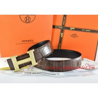 Hermes Brown/Black Crocodile Stripe Leather Reversible Belt 18K Gold Wave Stripe H Buckle