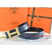Hermes Blue/Black Crocodile Stripe Leather Reversible Belt 18K Gold Wave Stripe H Buckle