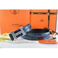 Hermes Blue/Black Crocodile Stripe Leather Reversible Belt 18K Silver Wave Stripe H Buckle