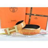 Hermes Orange/Black Crocodile Stripe Leather Reversible Belt 18K Gold Wave Stripe H Buckle