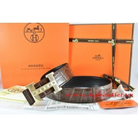 Hermes Brown/Black Crocodile Stripe Leather Reversible Belt 18K Gold Stripe Logo H Buckle