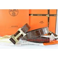 Hermes Brown/Black Crocodile Stripe Leather Reversible Belt 18K Gold Geometric Stripe H Buckle