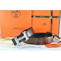 Hermes Brown/Black Crocodile Stripe Leather Reversible Belt 18K Silver Geometric Stripe H Buckle