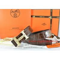 Hermes Brown/Black Crocodile Stripe Leather Reversible Belt 18K Gold Weave Stripe H Buckle