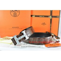 Hermes Brown/Black Crocodile Stripe Leather Reversible Belt 18K Silver Weave Stripe H Buckle