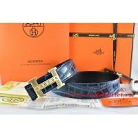 Hermes Blue/Black Crocodile Stripe Leather Reversible Belt 18K Gold Stripe Logo H Buckle