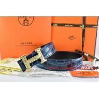 Hermes Blue/Black Crocodile Stripe Leather Reversible Belt 18K Gold Geometric Stripe H Buckle