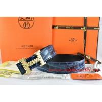 Hermes Blue/Black Crocodile Stripe Leather Reversible Belt 18K Gold Weave Stripe H Buckle