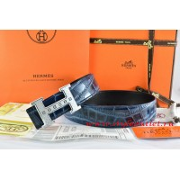 Hermes Blue/Black Crocodile Stripe Leather Reversible Belt 18K Silver Weave Stripe H Buckle