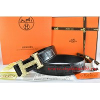 Hermes Black/Black Crocodile Stripe Leather Reversible Belt 18K Gold Bamboo Strip Logo H Buckle