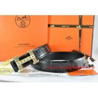 Hermes Black/Black Crocodile Stripe Leather Reversible Belt 18K Gold Stripe Logo H Buckle