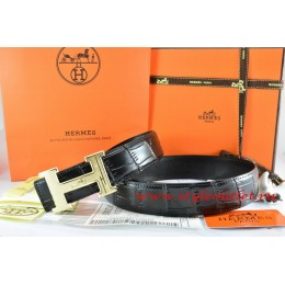 Hermes Black/Black Crocodile Stripe Leather Reversible Belt 18K Gold Geometric Stripe H Buckle