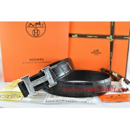 Hermes Black/Black Crocodile Stripe Leather Reversible Belt 18K Silver Geometric Stripe H Buckle