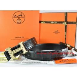 Hermes Black/Black Crocodile Stripe Leather Reversible Belt 18K Gold Weave Stripe H Buckle