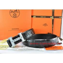 Hermes Black/Black Crocodile Stripe Leather Reversible Belt 18K Silver Weave Stripe H Buckle