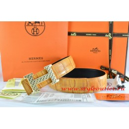 Hermes Orange/Black Crocodile Stripe Leather Reversible Belt 18K Gold Spot Stripe H Buckle