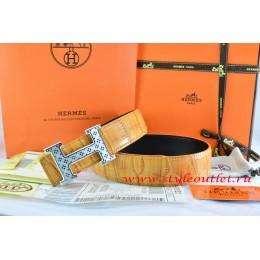Hermes Orange/Black Crocodile Stripe Leather Reversible Belt 18K Silver Spot Stripe H Buckle