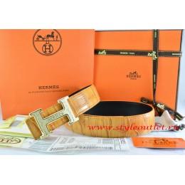 Hermes Orange/Black Crocodile Stripe Leather Reversible Belt 18K Gold Bamboo Strip Logo H Buckle