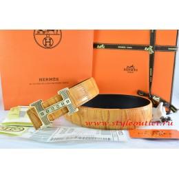 Hermes Orange/Black Crocodile Stripe Leather Reversible Belt 18K Gold Stripe Logo H Buckle