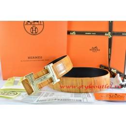 Hermes Orange/Black Crocodile Stripe Leather Reversible Belt 18K Gold Geometric Stripe H Buckle