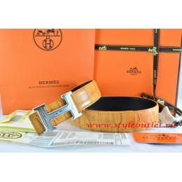 Hermes Orange/Black Crocodile Stripe Leather Reversible Belt 18K Silver Geometric Stripe H Buckle