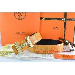 Hermes Orange/Black Crocodile Stripe Leather Reversible Belt 18K Gold Weave Stripe H Buckle