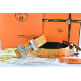 Hermes Orange/Black Crocodile Stripe Leather Reversible Belt 18K Silver Weave Stripe H Buckle