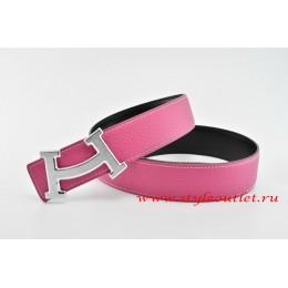 Hermes Fashion H Leather Reversible Pink/Black Belt 18k Silver Buckle
