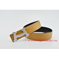 Hermes Fashion H Leather Reversible Light Coffee/Black Belt 18k Silver Buckle