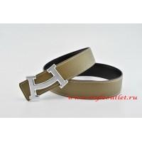 Hermes Fashion H Leather Reversible Gray/Black Belt 18k Silver Buckle