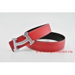 Hermes Fashion H Leather Reversible Red/Black Belt 18k Silver Buckle