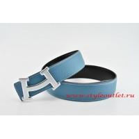 Hermes Fashion H Leather Reversible Blue/Black Belt 18k Silver Buckle