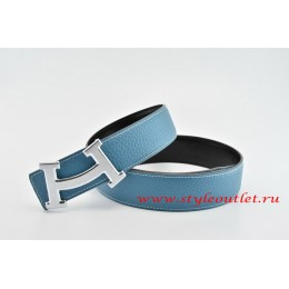 Hermes Fashion H Leather Reversible Blue/Black Belt 18k Silver Buckle