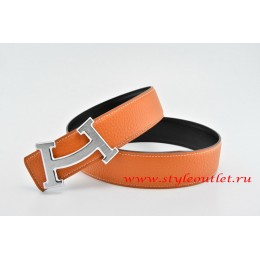Hermes Fashion H Leather Reversible Orange/Black Belt 18k Silver Buckle