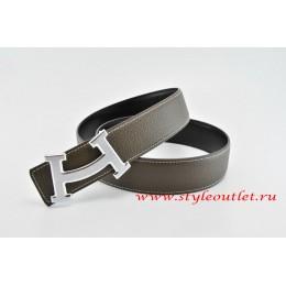 Hermes Fashion H Leather Reversible Brown/Black Belt 18k Silver Buckle