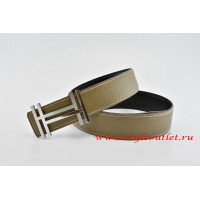 Hermes H au Carré Leather Reversible Gray/Black Belt 18k Silver Buckle