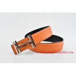 Hermes H au Carré Leather Reversible Orange/Black Belt 18k Silver Buckle