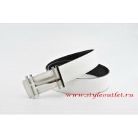 Hermes H au Carré Leather Reversible White/Black Belt 18k Silver Buckle