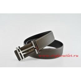Hermes H au Carré Leather Reversible Brown/Black Belt 18k Silver Buckle