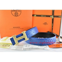 Hermes Blue/Black/Black Ostrich Stripe Leather Reversible Belt 18K Drawbench Gold H Buckle