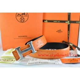 Hermes Orange/Black Ostrich Stripe Leather Reversible Belt 18K Drawbench Silver H Buckle