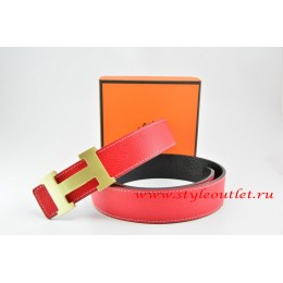 Hermes Red/Black Leather Men/Women Reversible Belt 18k Gold H Buckle