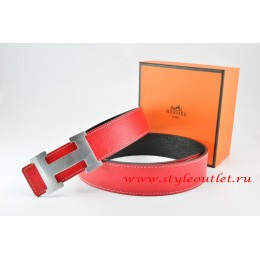 Hermes Red/Black Leather Men/Women Reversible Belt 18k Silver H Buckle